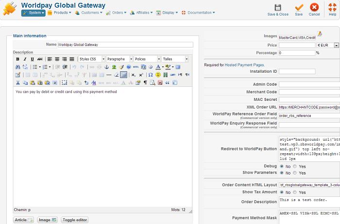 HikaShop - Worldpay Global Gateway payment method