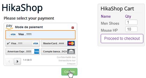 HikaShop - Pay with Amazon