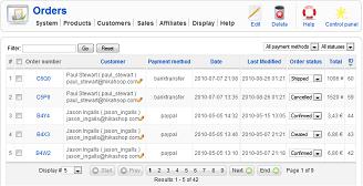 HikaShop - Orders listing