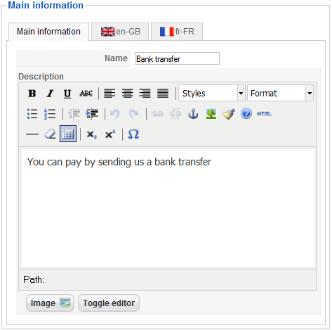 Bank transfer payment Informations