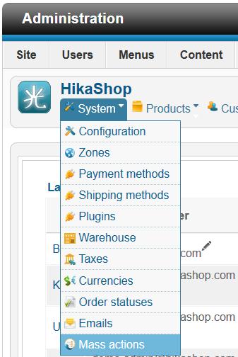 HikaShop - don't find mass action plugin - HikaShop