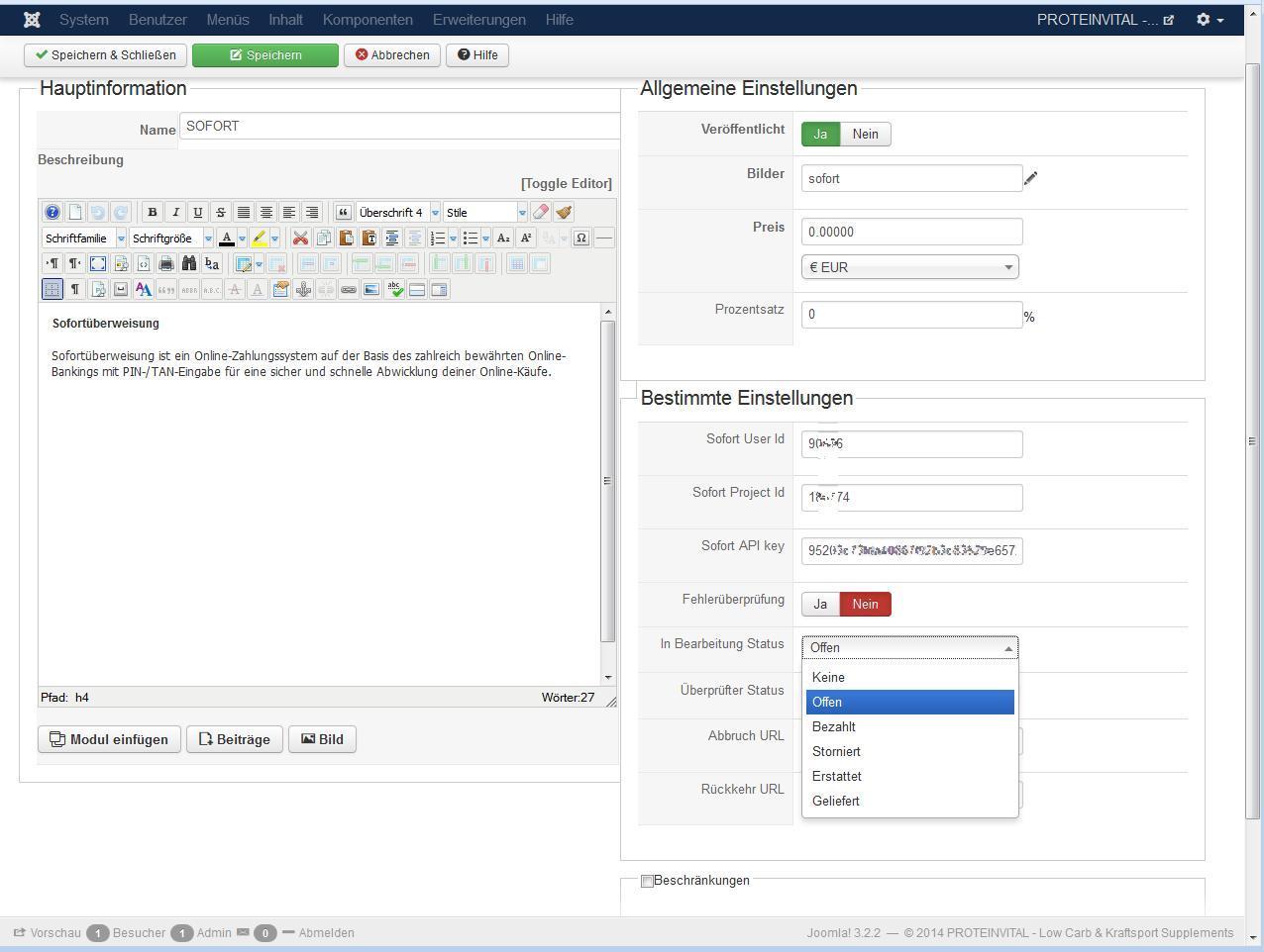 HikaShop - Sofort payment - order status pending - HikaShop