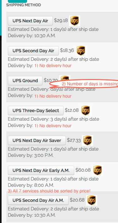 HikaShop - UPS Delivery Constants Not Working and Other