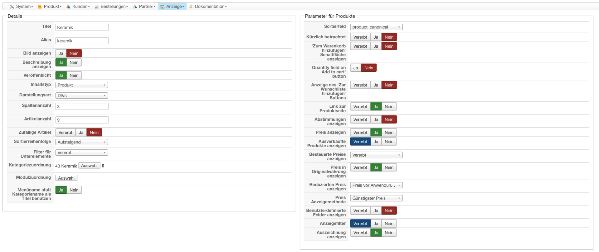 HikaShop - Einordnung der Produkte in Produktübersicht - HikaShop