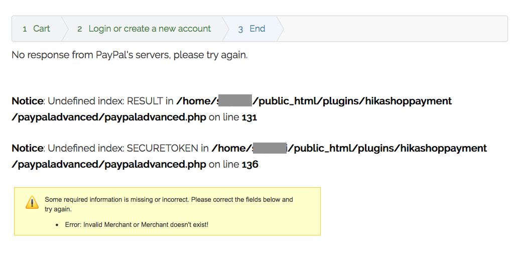 HikaShop - Paypal Advanced no longer working after upgrade to 3 0 1